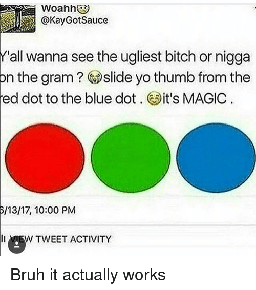 Bitch, Bruh, and Memes: Y'all wanna see the ugliest bitch or nigga  n the gram Slide yo thumb from the  ed dot to the blue dot  it's MAGIC  6/13/17, 10:00 PM  li MEW TWEET ACTIVITY Bruh it actually works