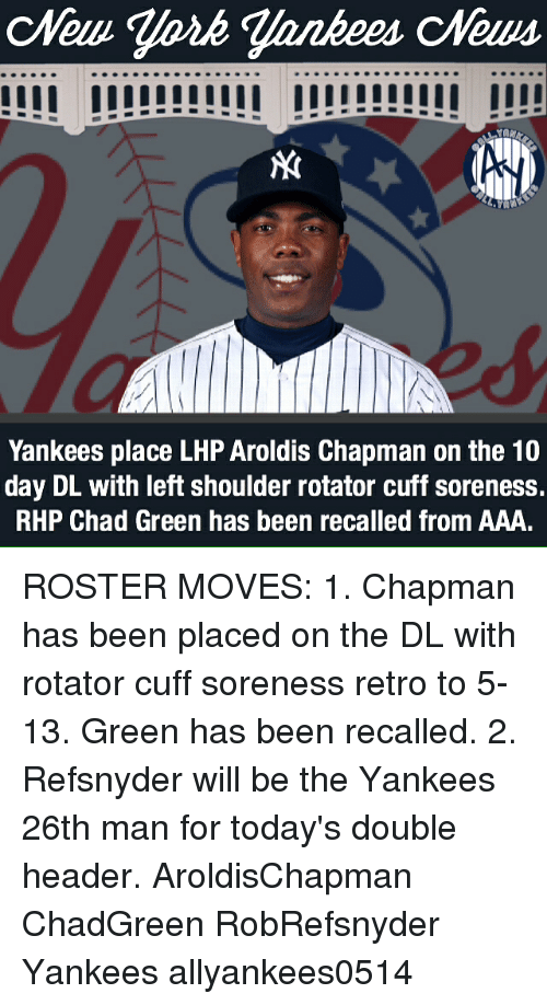 yankees place lhp aroldis chapman on the 10 day dl 21383134 🅱 25 best memes about aroldis chapman aroldis chapman memes