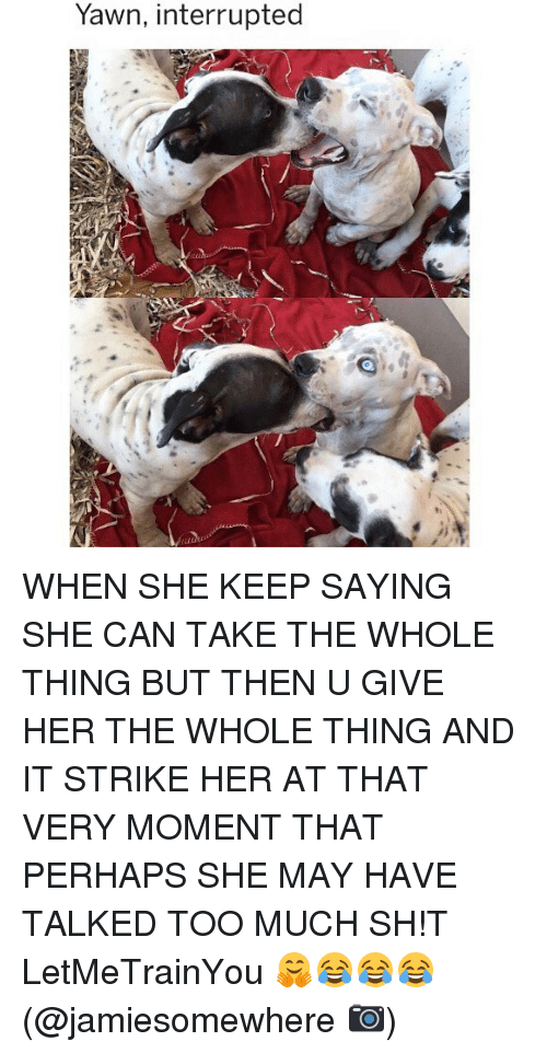 Memes, Too Much, and 🤖: Yawn, interrupted WHEN SHE KEEP SAYING SHE CAN TAKE THE WHOLE THING BUT THEN U GIVE HER THE WHOLE THING AND IT STRIKE HER AT THAT VERY MOMENT THAT PERHAPS SHE MAY HAVE TALKED TOO MUCH SH!T LetMeTrainYou 🤗😂😂😂 (@jamiesomewhere 📷)
