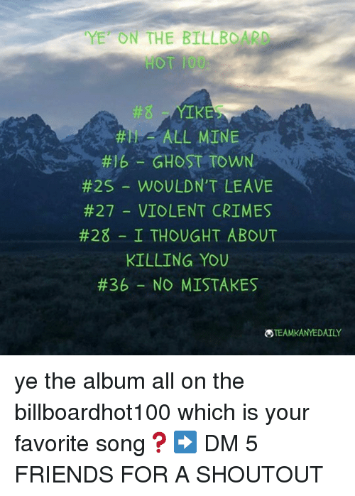 """Anaconda, Billboard, and Friends: YE"""" ON THE BILLBOARD  0T 100  #8  #TI-ALL MINE  #16-GHOST TOWN  #25-WOULDN'T LEAVE  #27 _ VIOLENT CRIMES  #28-1 THOUGHT ABOUT  KILLING YOU  #36-NO MISTAKES  TEAMKANYEDAILY ye the album all on the billboardhot100 which is your favorite song❓➡️ DM 5 FRIENDS FOR A SHOUTOUT"""