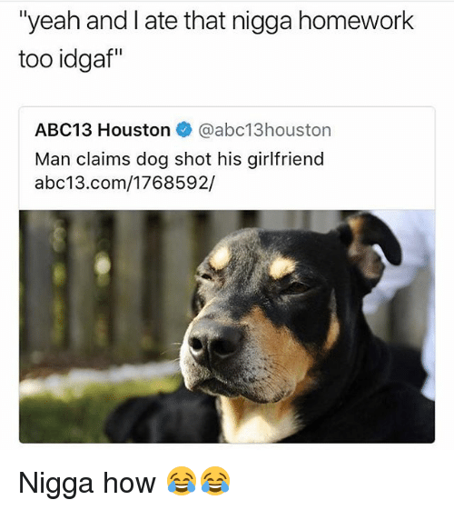 "Funny, Yeah, and Abc13: ""yeah and I ate that nigga homework  too idgaf""  ABC13 Houston@abc13houston  Man claims dog shot his girlfriend  abc13.com/1768592/ Nigga how 😂😂"