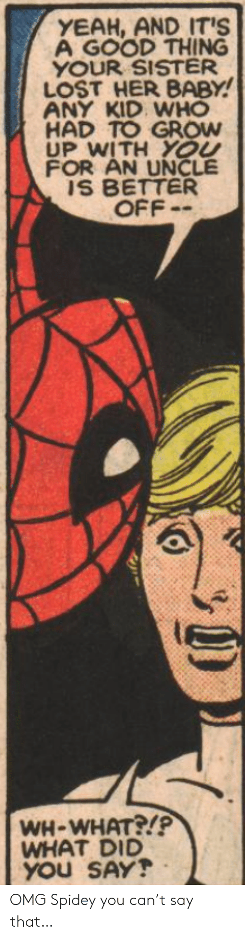 Omg, Yeah, and Lost: YEAH, AND IT'S  A GOOD THING  YOUR SISTER  LOST HER BABY!  ANY KID WHO  HAD TO GROW  UP WITH YOU  FOR AN UNCLE  IS BETTER  OFF-  WH-WHAT?!P  WHAT DID  YOU SAY! OMG Spidey you can't say that…