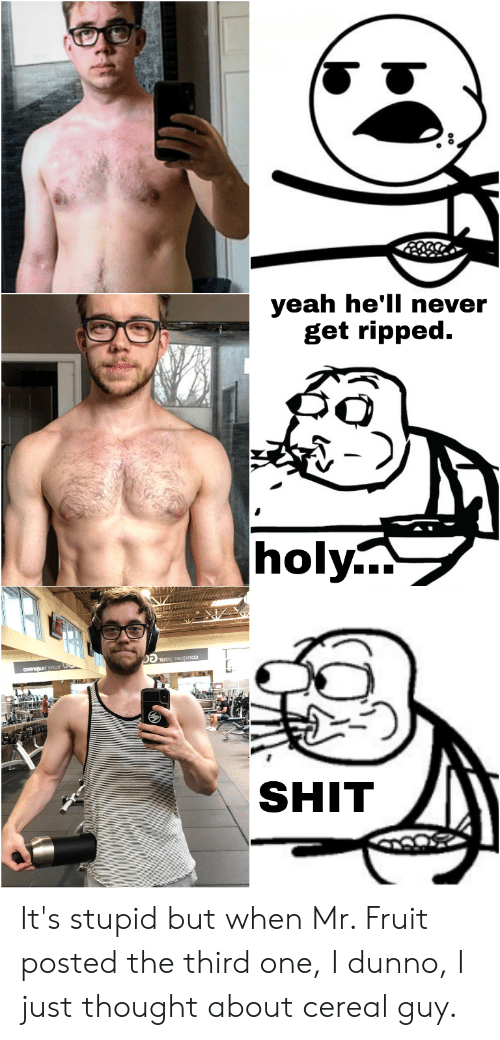 cereal guy: yeah he'll never  get ripped  |holy...  Tuoy 19upno  conmquer youir  SHIT It's stupid but when Mr. Fruit posted the third one, I dunno, I just thought about cereal guy.