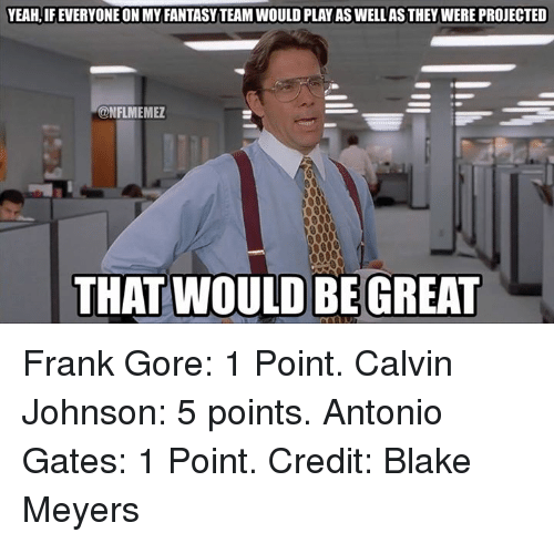 NFL: YEAH, IFEVERYONE ON MY FANTASYTEAMWOULD PLAY AS WELLASTHEY WERE PROJECTED  CONFLMEMEZ  THAT WOULD BE GREAT Frank Gore: 1 Point. Calvin Johnson: 5 points. Antonio Gates: 1 Point.  Credit: Blake Meyers