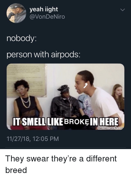 Memecrunch: yeah iight  @VonDeNiro  nobody:  person with airpods:  IT SMELL LIKEBROKEI  N HERE  memecrunch.co  11/27/18, 12:05 PM They swear they're a different breed