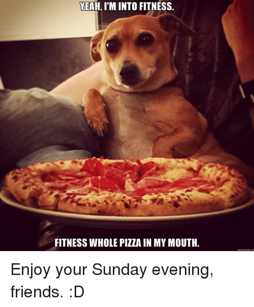 Memes, 🤖, and Fitnesse: YEAH, I'M INTO FITNESS.  FITNESS WHOLE PIZZA IN MY MOUTH. Enjoy your Sunday evening, friends. :D