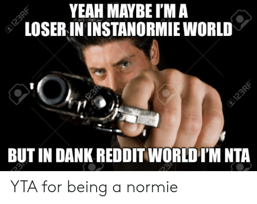 Dank Reddit: YEAH MAYBE I'M A  LOSER IN INSTANORMIE WORLD  123R  BUT IN DANK REDDIT WORLD I'M NTA  23  123RF  23  123RF YTA for being a normie