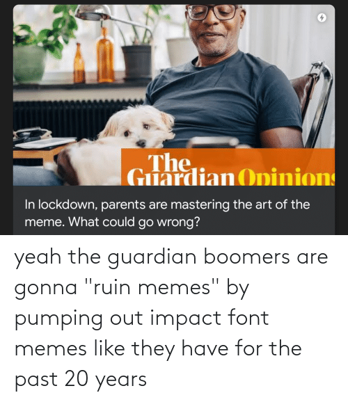 "Impact Font: yeah the guardian boomers are gonna ""ruin memes"" by pumping out impact font memes like they have for the past 20 years"