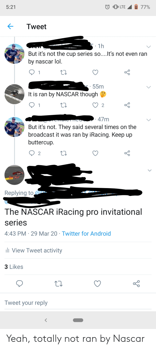 nascar: Yeah, totally not ran by Nascar