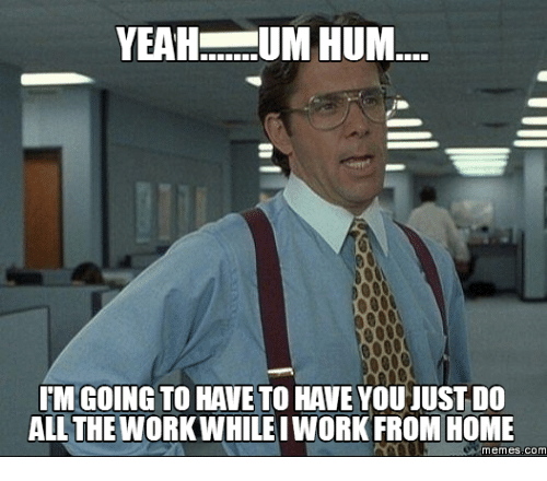 Work From Home Meme: YEAH UM HUM  GOING TO HAVE STO HAVEYOUJUSTDO  ALL THE WORKWHILE IWORK FROM HOME  memes COM