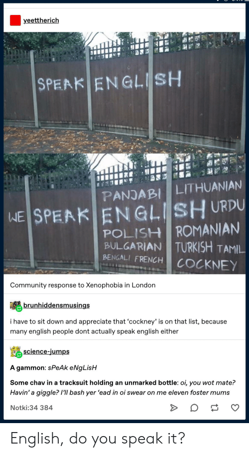 cockney: yeettherich  SPEAK ENGLISH  PANJABI LITHUANIAN  WE SPEAK ENGLISH URDU  POLISH ROMANIAN  TURKISH TAMIL  BULGARIAN  BENGALI FRENCH  COCKNEY  Community response to Xenophobia in London  brunhiddensmusings  i have to sit down and appreciate that 'cockney' is on that list, because  many english people dont actually speak english either  science-jumps  A gammon: sPeAk eNgLisH  Some chav in a tracksuit holding an unmarked bottle: oi, you wot mate?  Havin' a giggle? /'ll bash yer 'ead in oi swear on me eleven foster mums  Notki:34 384 English, do you speak it?