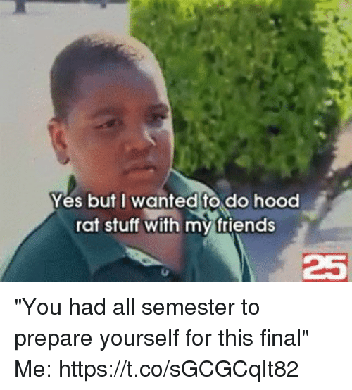 """Friends, Funny, and Stuff: Yes but I wanted to do hood  rat stuff with my friends  25 """"You had all semester to prepare yourself for this final""""  Me: https://t.co/sGCGCqIt82"""