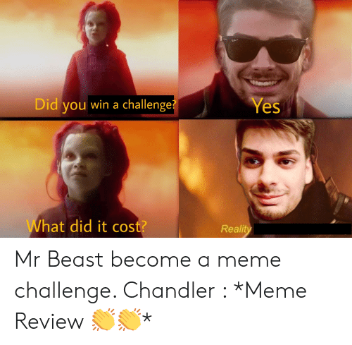 Meme Challenge: Yes  Did you win a challenge?  What did it cost?  Reality Mr Beast become a meme challenge. Chandler : *Meme Review 👏👏*