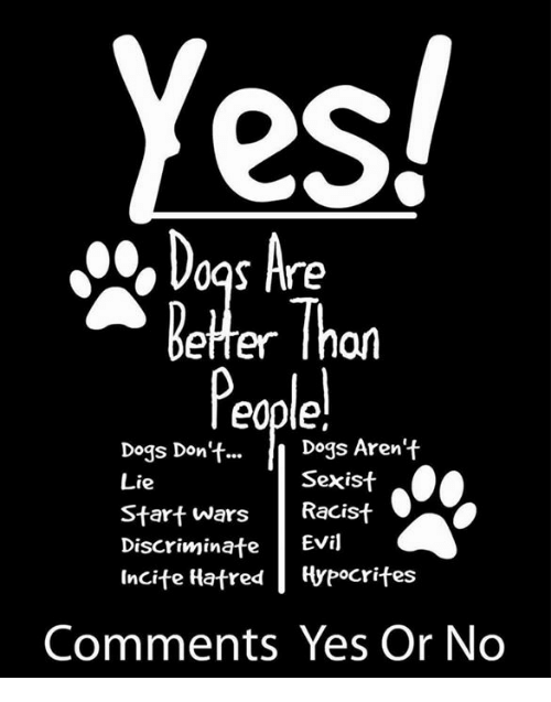 Hatre: Yes!  Dogs Are  Better Thon  Dogs Aren't  Dogs Don't...  Sexist  Lie  Start Wars  Racist  Discriminate  Evil  Incite Hatred Hypocrites  Comments Yes Or No