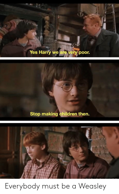 weasley: Yes Harry we are very poor.  Stop making children then. Everybody must be a Weasley