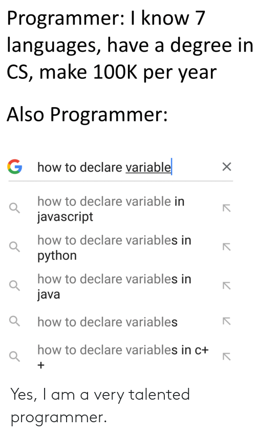 I Am A: Yes, I am a very talented programmer.