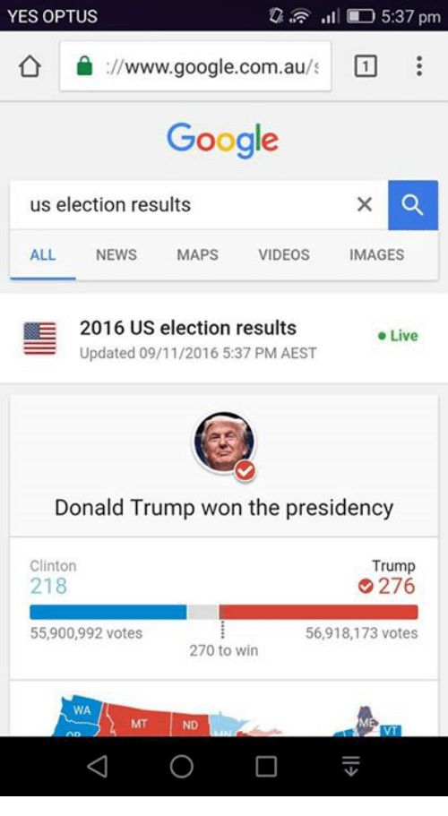 Dank, Donald Trump, and Google: YES OPTUS  5:37 pm  ://www.google.com.au  Google  us election results  ALL.  NEWS  MAPS  VIDEOS  MAGES  E 2016 US election results  Live  Updated 09/11/2016 5:37 PM AEST  Donald Trump won the presidency  Trump  Clinton  218  276  55,900,992 votes  56,918,173 votes  270 to win