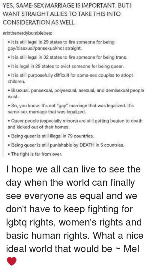 the importance of legalization of same sex marriages the importance of equality