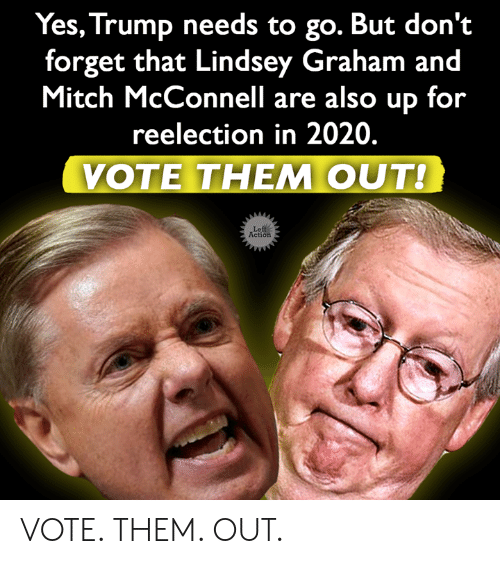 Mitch McConnell: Yes, Trump needs to go. But don't  forget that Lindsey Graham and  Mitch McConnell are also up for  reelection in 2020.  VOTE THEM OUT!  Left  Action VOTE. THEM. OUT.