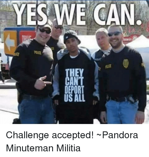 Memes, Pandora, and 🤖: YES WE CAN.  DEPOR  US AL Challenge accepted!  ~Pandora   Minuteman Militia