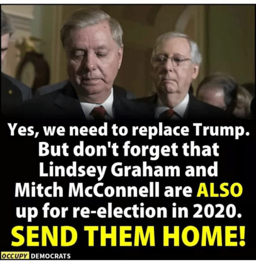Occupy Democrats: Yes, we need to replace Trump.  But don't forget that  Lindsey Graham and  Mitch McConnell are ALSO  up for re-election in 2020.  SEND THEM HOME!  OCCUPY DEMOCRATS