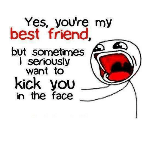 youre my best friend: Yes, you're my  best friend,  but sometimes  I seriously  want to  kick you  in the face