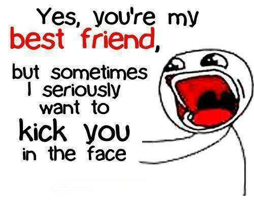 youre my best friend: Yes, youre my  best friend  but sometimes  I seriously  want to  kick you  in the face