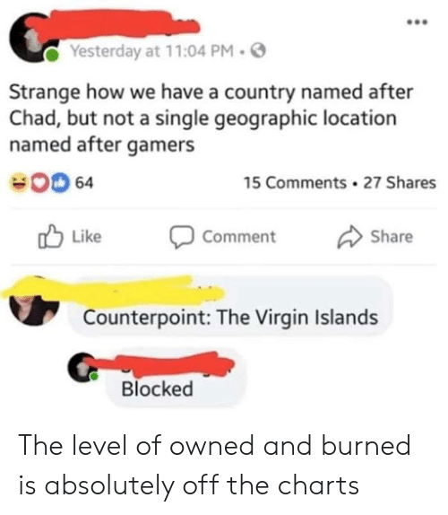 Charts: Yesterday at 11:04 PM.  Strange how we have a country named after  Chad, but not a single geographic location  named after gamers  00 64  15 Comments 27 Shares  Like Comment Share  Counterpoint: The Virgin Islands  Blocked The level of owned and burned is absolutely off the charts