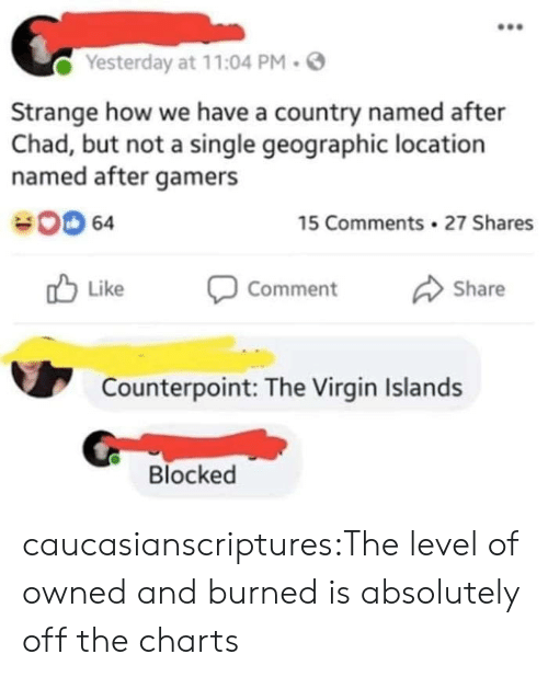 Charts: Yesterday at 11:04 PM.  Strange how we have a country named after  Chad, but not a single geographic location  named after gamers  00 64  15 Comments 27 Shares  Like Comment Share  Counterpoint: The Virgin Islands  Blocked caucasianscriptures:The level of owned and burned is absolutely off the charts