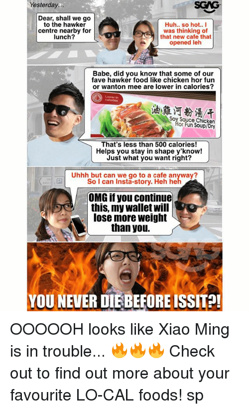 Minging: Yesterday...  Dear, shall we go  to the hawker  Huh.. so hot.. I  centre nearby for  was thinking of  lunch?  that new cafe that  opened leh  Babe, did you know that some of our  fave hawker food like chicken hor fun  or wanton mee are lower in calories?  Soy Sauce Chicken  or Fun Soupl Dry  That's less than 500 calories!  Helps you stay in shape y'know!  Just what you want right?  Uhhh but can we go to a cafe anyway?  So I can Insta-story. Heh he  OMG if you continue  this, my wallet will  lose more weight  than you.  YOU NEVER DIEBEFOREISSIT?! OOOOOH looks like Xiao Ming is in trouble... 🔥🔥🔥 Check out <link in bio> to find out more about your favourite LO-CAL foods! sp