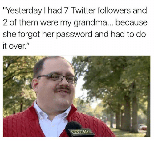 """Grandma, Memes, and Twitter: """"Yesterday I had 7 Twitter followers and  2 of them were my grandma... because  she forgot her password and had to do  it over."""""""
