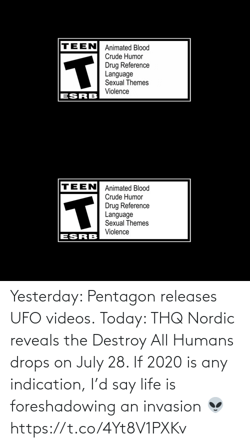 ufo: Yesterday: Pentagon releases UFO videos.  Today: THQ Nordic reveals the Destroy All Humans drops on July 28.   If 2020 is any indication, I'd say life is foreshadowing an invasion 👽 https://t.co/4Yt8V1PXKv