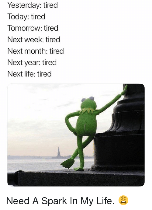 Life, Today, and Tomorrow: Yesterday: tired  Today: tired  Tomorrow: tired  Next week: tired  Next month: tired  Next year: tired  Next life: tired Need A Spark In My Life. 😩