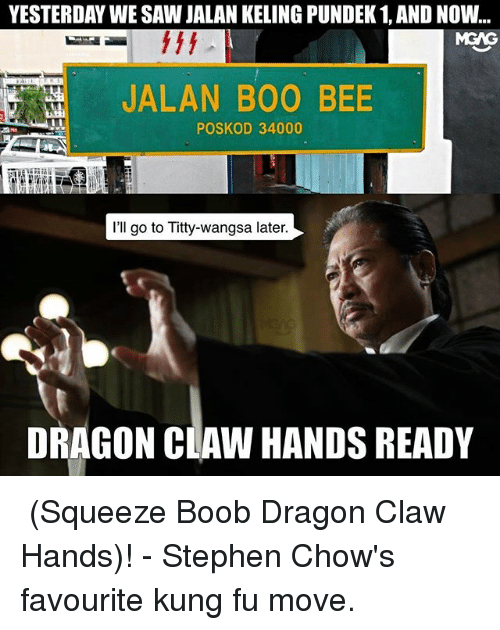 Boo, Memes, and Saw: YESTERDAY WE SAW JALAN KELING PUNDEK 1, AND NOW..  MGAG  JALAN BOO BEE  POSKOD 34000  I'll go to Titty-wangsa later  DRAGON CLAW HANDS READY 楂波龙爪手 (Squeeze Boob Dragon Claw Hands)! - Stephen Chow's favourite kung fu move.