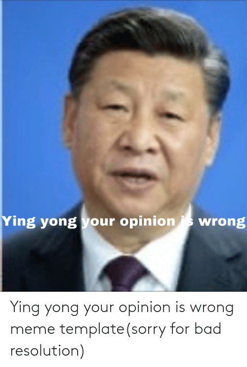 Wrong Meme: Ying yong your opinion is wrong meme template(sorry for bad resolution)