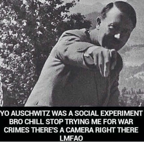 Chill, Crime, and Dank: YO AUSCHWITZ WAS A SOCIAL EXPERIMENT  BRO CHILL STOP TRYING ME FOR WAR  CRIMES THERE'S A CAMERA RIGHT THERE  LMFAO