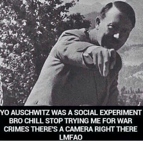 Chill, Crime, and Memes: YO AUSCHWITZ WAS A SOCIAL EXPERIMENT  BRO CHILL STOP TRYING ME FOR WAR  CRIMES THERE'S A CAMERA RIGHT THERE  LMFAO