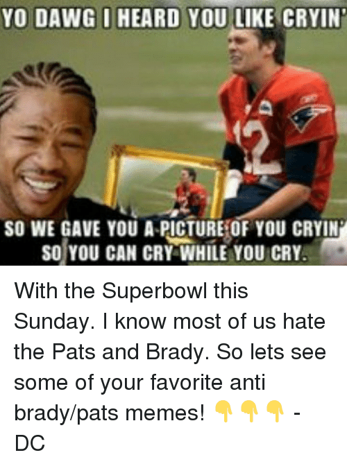 Pats Memes: YO DAWG I HEARD YOU LIKE CRYIN  SO WE GAVE YOU A PICTURE OF YOU CRYIN  SO YOU CAN CRY WHILE YOU CRY. With the Superbowl this Sunday. I know most of us hate the Pats and Brady. So lets see some of your favorite anti brady/pats memes! 👇👇👇 -DC