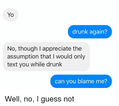 Blame Me: Yo  drunk again?  No, though I appreciate the  assumption that I would only  text you while drunk  can you blame me? Well, no, I guess not