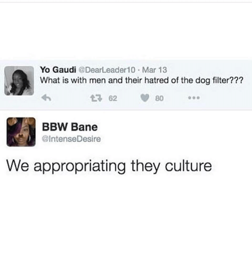 dog filter: Yo Gaudi @DearLeader10 Mar 13  What is with men and their hatred of the dog filter??  2 62 80  BBW Bane  @IntenseDesire  We appropriating they culture
