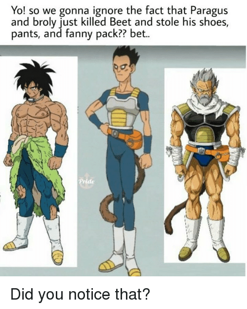 beet: Yo! so we gonna ignore the fact that Paragus  and broly just killed Beet and stole his shoes,  pants, and fanny pack?? bet.. Did you notice that?