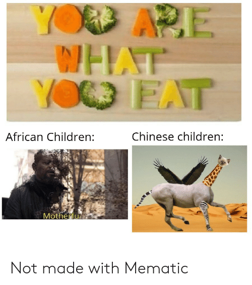 african: YOD APE  WHAT  YO EAT  Chinese children:  African Children:  Motherfu Not made with Mematic