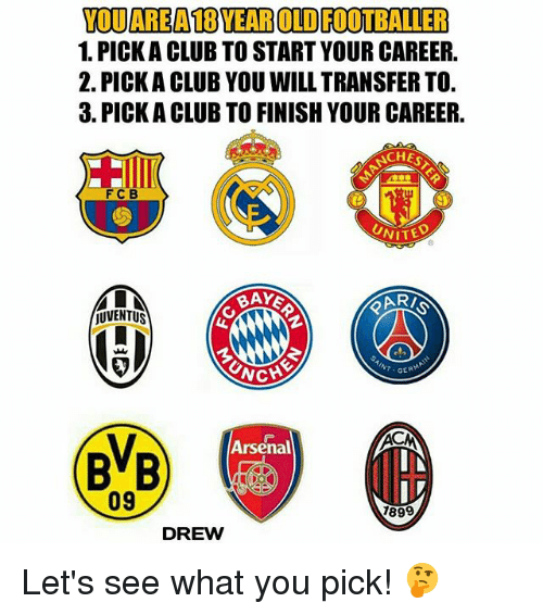 Arsenal, Club, and Memes: YODAREA18YEAROLDFOOTBALLER  1. PICKACLUB TO START YOUR CAREER,  2. PICKA CLUB YOU WILL TRANSFER TO  3. PICKA CLUB TO FINISH YOUR CAREER,  CHES  FC B  UNITE  UVENTUS  GER  Arsenal  BVB  09  1899  DREW Let's see what you pick! 🤔