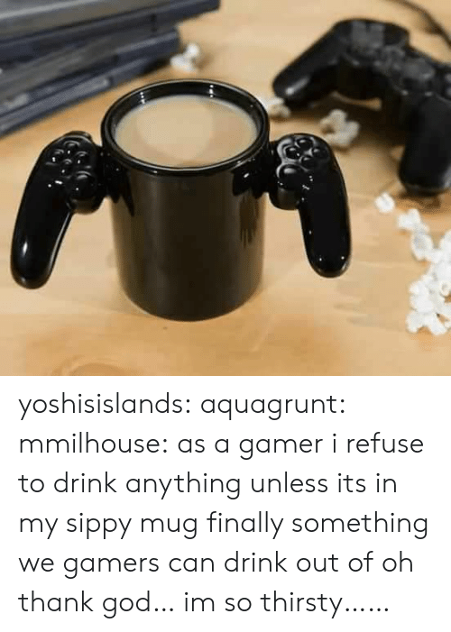 Oh Thank God: yoshisislands: aquagrunt:  mmilhouse:  as a gamer i refuse to drink anything unless its in my sippy mug  finally something we gamers can drink out of  oh thank god… im so thirsty……