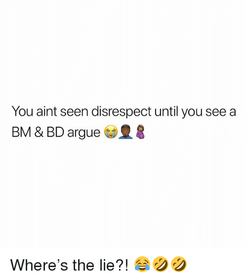 Arguing, Memes, and 🤖: You aint seen disrespect until you see a  BM & BD argue Where's the lie?! 😂🤣🤣