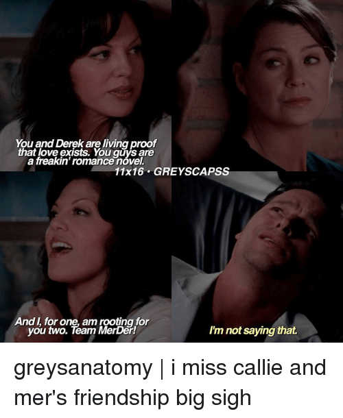 rooting for you: You and Derek are living proof  that love exists. You are  a freakin' romancenovel.  11x16 GREY SCAPSS  And for one, am rooting for  you two. Team MerDer!  I'm not saying that. greysanatomy | i miss callie and mer's friendship big sigh
