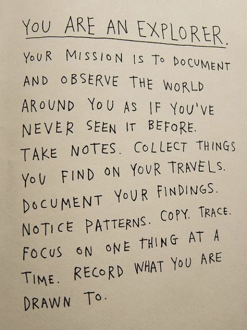 Patterns: You ARE AN EXPLORER  OUR MISSIO N IS To DoCUMENT  AND O BSERVE THE WORLD  AROUND Yo U AS IF You'vE  NEVER SEEN IT BEFORE.  TAKE NOTES. CoLLECT THINGs  YoV FIND ON YovR TRAVELS.  DOCUMENT YoUR FINDINGS.  NOTICE PATTERNS. COPY. TRACE  FoCuS N ONE THING AT A  TIME. RECORD WHAT YoU ARE  DRAWN To.