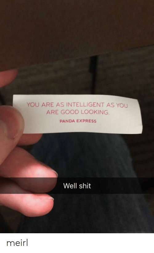 Panda: YOU ARE AS INTELLIGENT AS YOU  ARE GOOD LOOKING  PANDA EXPRESS  Well shit meirl