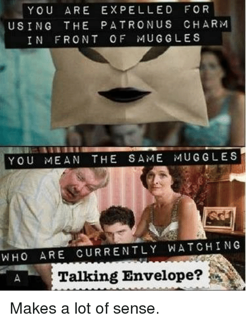 Envelops: YOU ARE EXPELLED FOR  USING THE PATRON US CHARM  IN FRONT OF MUG GLES  YOU MEAN THE SAME MUG GLES  WHO ARE CURRENTLY WATCHING  A Talking Envelope? Makes a lot of sense.