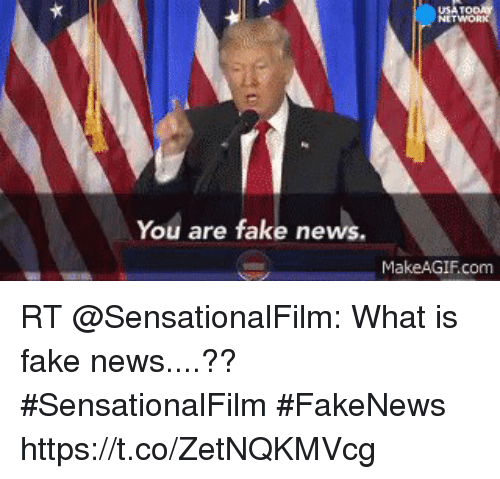 Fake, News, and What Is: You are fake news.  MakeAGIFcom RT @SensationalFilm: What is fake news....??  #SensationalFilm #FakeNews https://t.co/ZetNQKMVcg